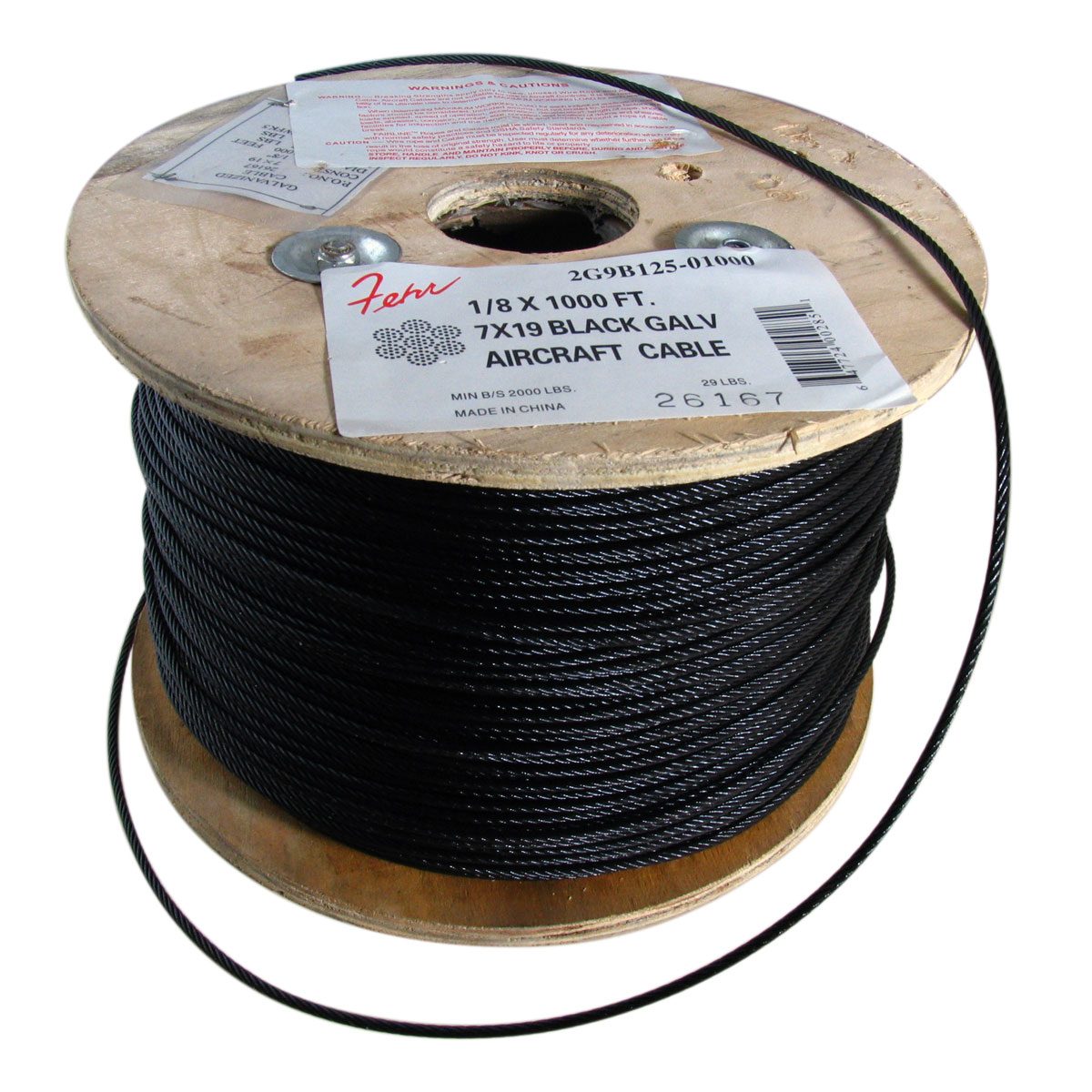 Black Coated Galvanized Aircraft Cable