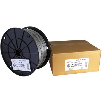 1 / 16 X 500 FT, 7X7 Galvanized Aircraft Cable
