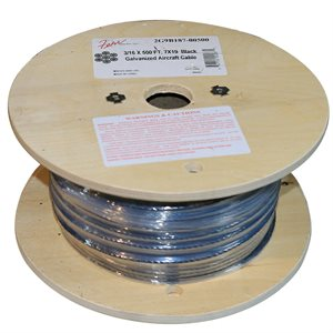 1 / 16   X 500 FT, 7X7  Black Galvanized Aircraft Cable