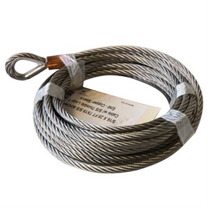5 / 16 X 25 FT 7X19 S / S Aircraft Cable w /  S / S Thimble Loop 1 End - Copper Sleeve